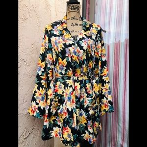 AVA & VIV Black Floral Print Robe Blazer